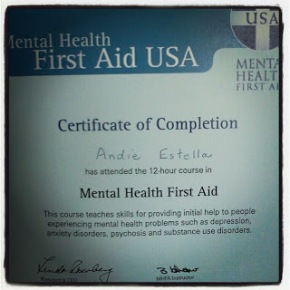 CERTIFIED! Mental Health FirstAid