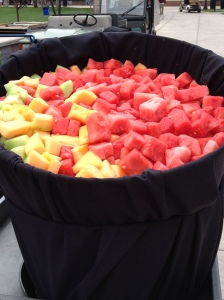 fruit bowl at the reception - pineapple, honeydew, cantaloupe & watermelon!
