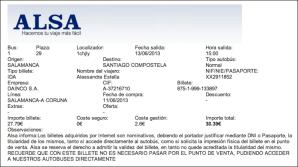 bus ticket to Santiago de Compostela!