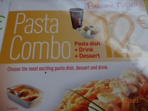my order: the Pasta Combo of pasta + drink + dessert!