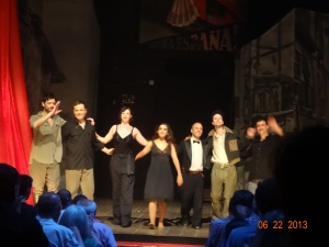 sneak pic of the cast at final curtain call