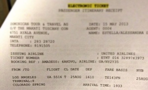 E-ticket from LAX to COS