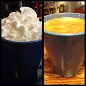 hot chocolate and whipped cream vs. apple cider