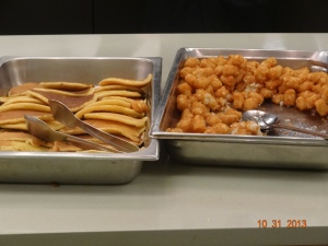 Midnight Breakfast: pancakes and tots at every table!