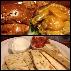 bacon cheeseburger for me, chicken & cheese quesadilla for Melissa!
