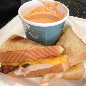 grilled bacon and cheese sandwich + tomato basil soup!