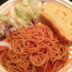 Zak's famous pasta (w/o meatballs for me), garlic bread, and salad!