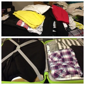 top: stuff on the bed bottom: stuff in the suitcase