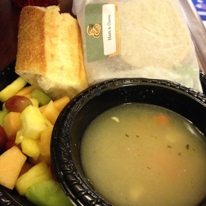 ham&cheese sandwich, fruit salad, chicken soup, and a chunk of bread!