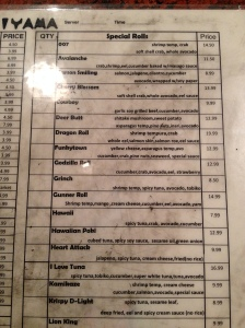 part of the sushi menu
