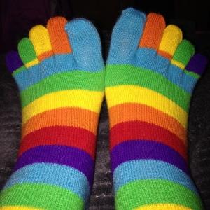 toe socks while relaxing!
