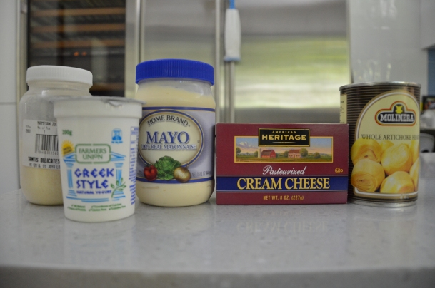 L-R: parmesan cheese, greek yogurt, mayonnaise, pasteurized cream cheese, whole artichoke hearts