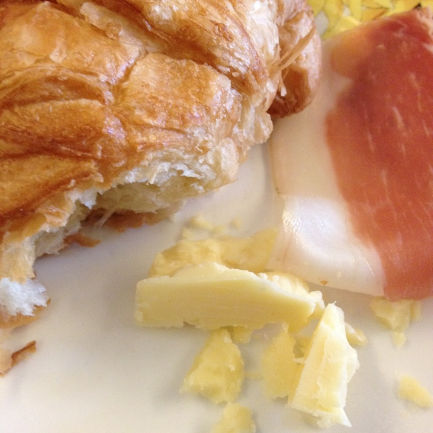 cold cuts + cheese + warm croissant = heaven!