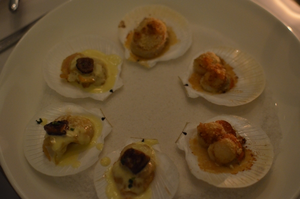Scallops, baked with a shell