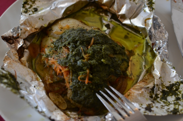 Fillet of Sole in Parchment (but actually aluminum foil) with fresh vegetables and herbs baked in a wood-fired oven