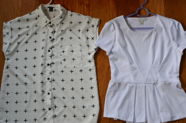 1 black/white top, 1 white blouse