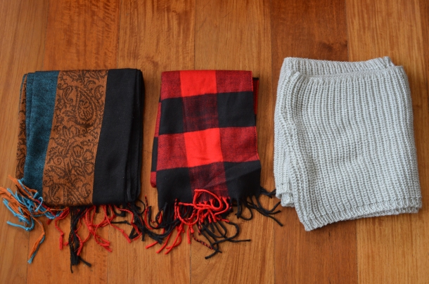 scarves (purple scarf not pictured)