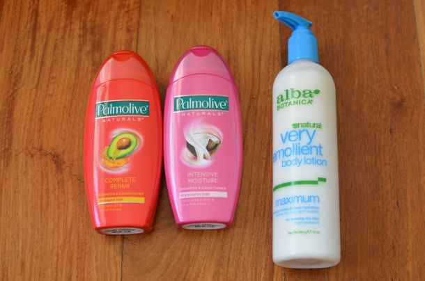 L-R: Palmolive Complete Repair (Avocado Oil & Honey Extract), Palmolive Intensive Moisture (Coco Cream Milk & Pure Milk Protein), Alba Botanica Natural Very Emollient Body Lotion