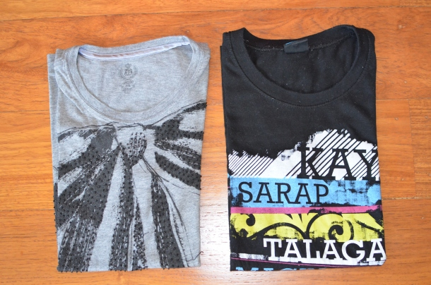 L-R: t-shirt, sleep shirt