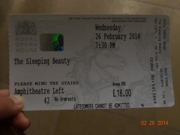 Sleeping Beauty ballet ticket!