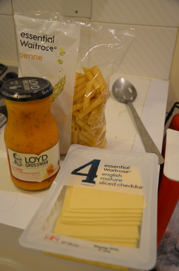 Ingredients (L-R): pasta sauce, penne noodles, mature cheddar cheese