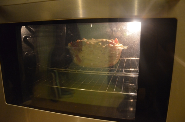 new baked ziti in the oven
