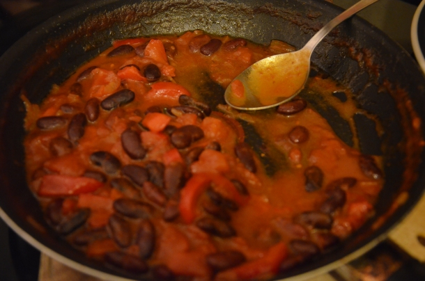 black beans, red peppers, and tomatoes