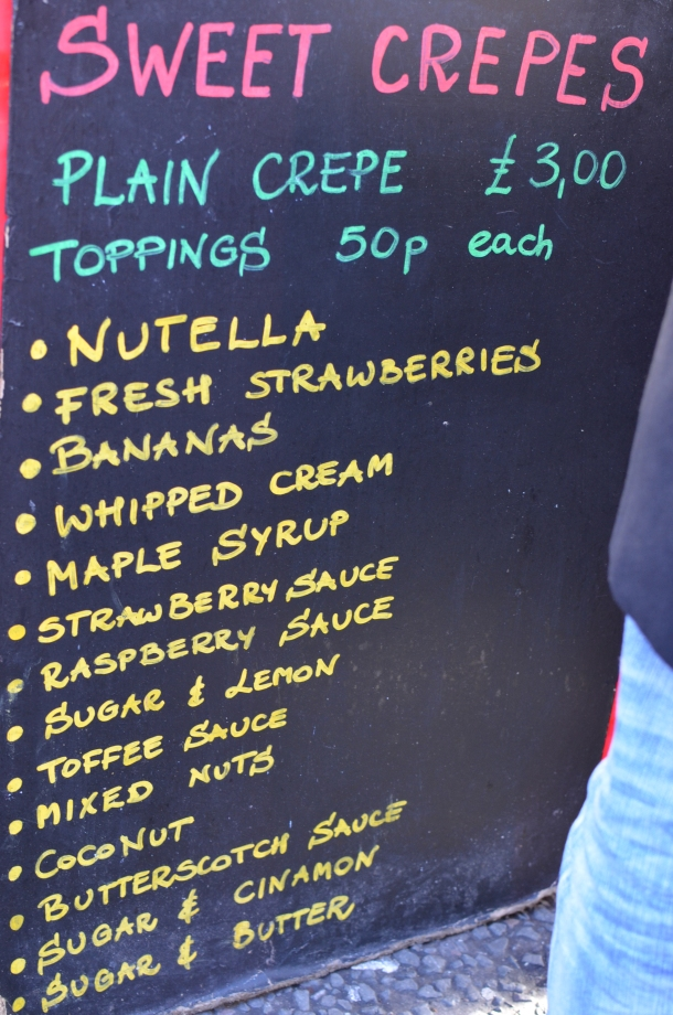 Plain Crepe Menu