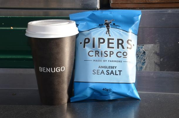 sea salt crisps and hot chocolate
