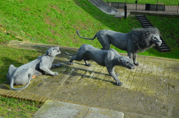 Lions by the entrance