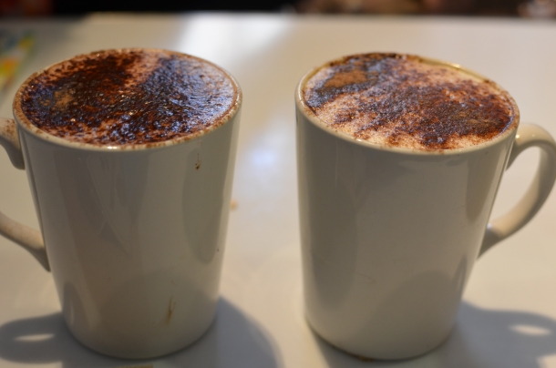 L-R: cappucino, hot chocolate