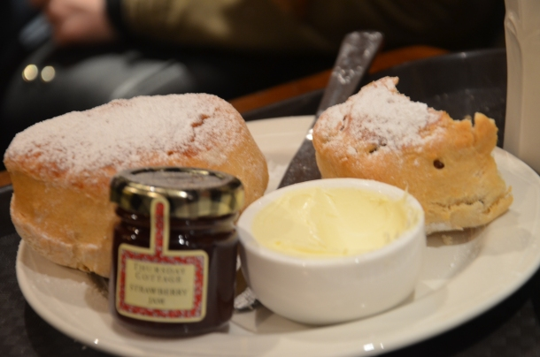Liz's two scones + jam/butter
