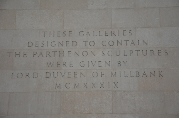 Parthenon Sculpture gallery given by Lord Duveen of Millbank
