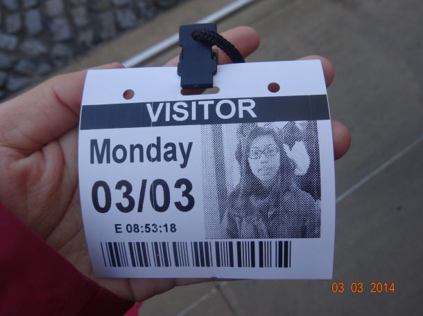 printed visitor's pass (inc. blurry photo)