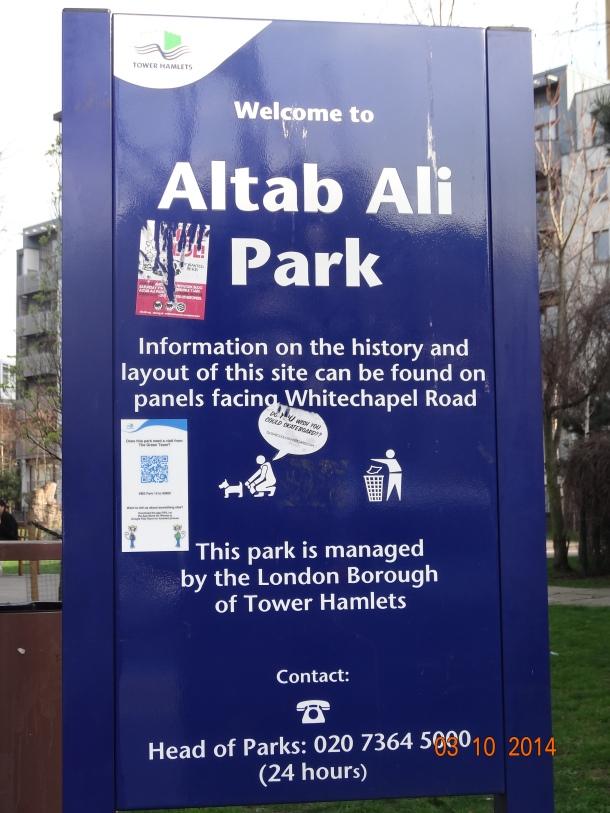 Altab Ali Park sign