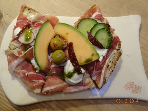 Prosciutto and Mozzarella di Bufala with sundered tomatoes and basil oil, £9.90