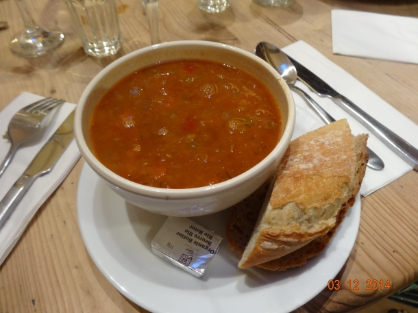 Organic Soup of the day with organic bread, £5.80
