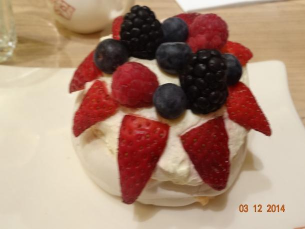 Pavlova with berries and cream, £4.80