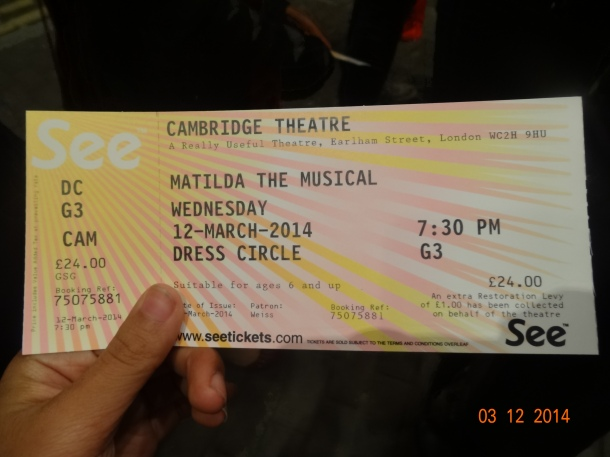 ticket to Matilda the Musical