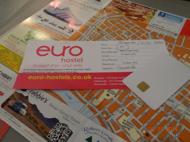 room key and map of Glasgow