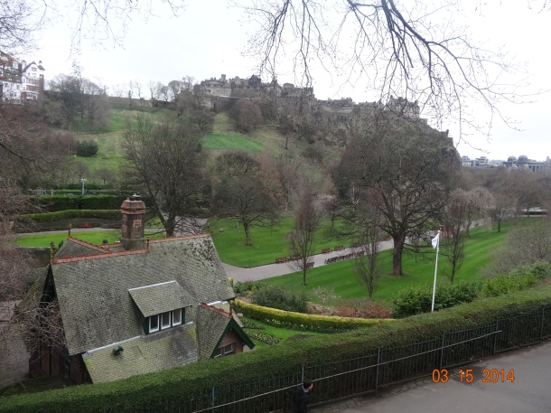 view of Edinburgh castle from the Princes Street Gardens