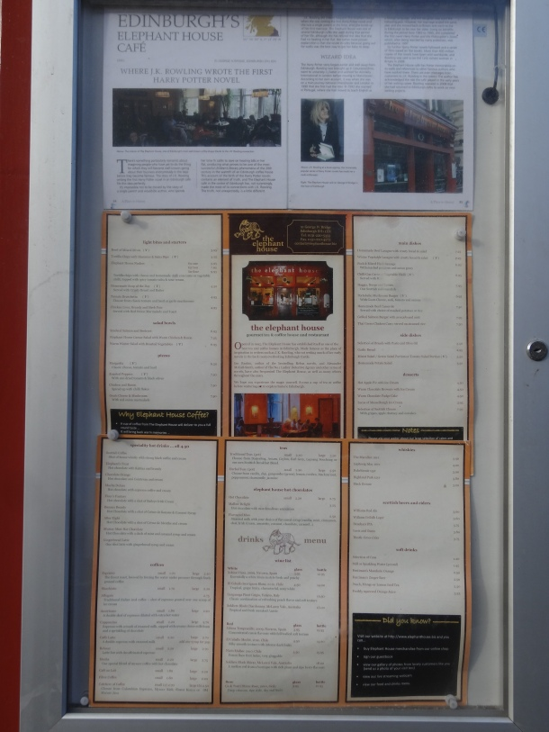 The Elephant House menu