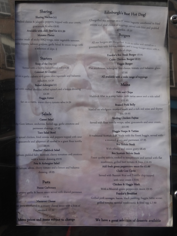 Frankenstein pub menu #2