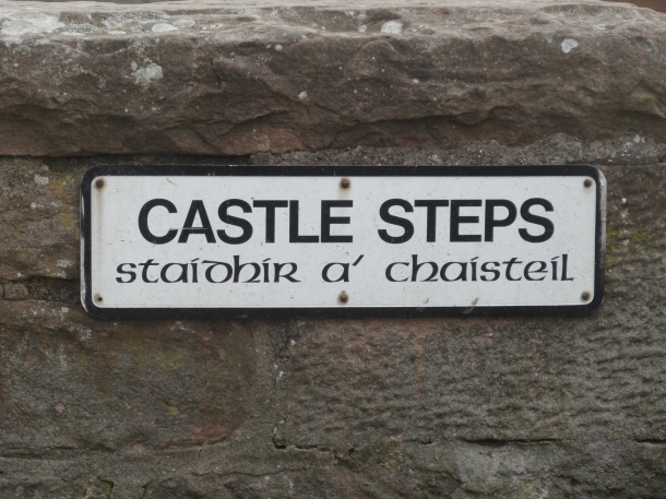 up the castle steps!