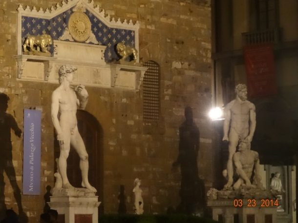 "statue on the left is the ""fake"" David"