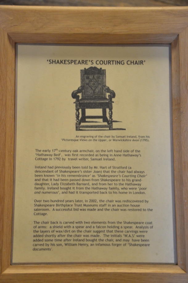'Shakespeare's Courting Chair' information