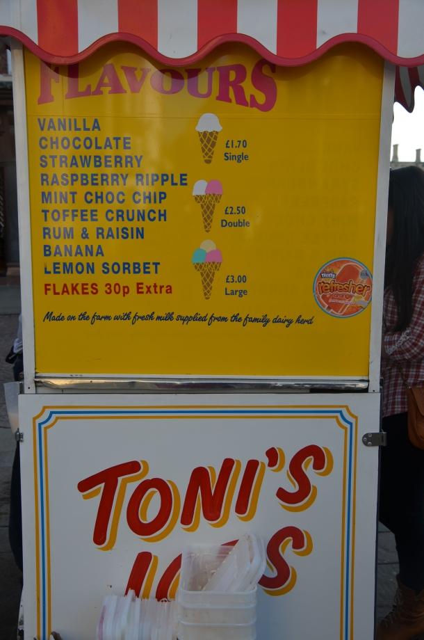 Toni's Ices menu