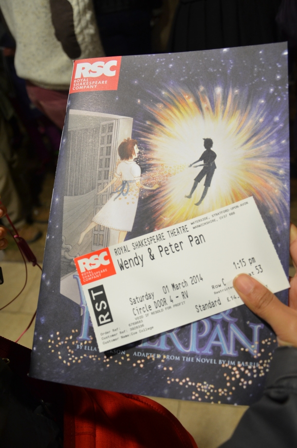 ticket and program for Wendy and Peter Pan