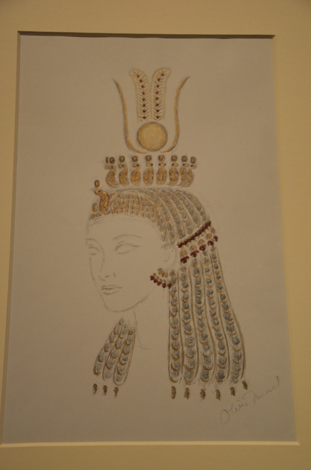 """drawing of the headdress and wig used in """"Caesar and Cleopatra"""""""