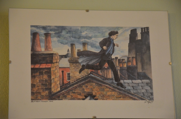 drawing of Sherlock on the rooftop